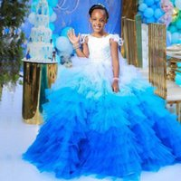 White And Blue Feather Flower Girl Dresses For Wedding Ruffles Girls Pageant Dress Lace Applique Princess Children Gowns