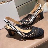 Prowow Straplez Mesh Sandalet Pamuk Kumaş Tek Ayakkabı Kare Ayak Hollow Kalın Topuk Kadın Ilmek Stiletto Lady Elbise