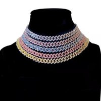 Chains 9MM Miami Iced Out Cuban Link Chain Necklaces For Men Bracelet Full Rhinestone Jewelry Set Colorful Necklace Hip Hop Gift
