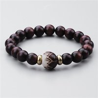 Fehame Retro Design Natural Red Sanders Wood Beads White Bodhi Seed Carved Lotus Flower Bracelet For Women Unique Jewelry Beaded, Strands