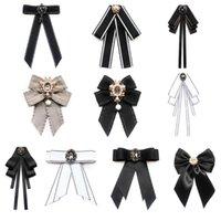 Vintage elegante pre-atado cuello corbata broche de mujer imitación perla joyería cinta arco de corsage para camisa collar ropa accesorios corbatas