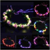 Decoraciones navideñas Guirnalda Diadema Crown Luminoso LED LED Flowee Tocado para niñas noche fiesta rápido Tinug xofsi