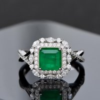 Cluster Rings Vintage Jewelry Solid 925 Sterling Silver Luxury Emerald Diamond Cocktail Ring For Women Anniversary Party Gift