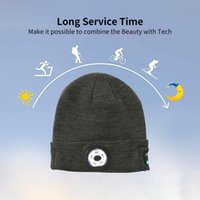 Winter Beanie Hat Wireless Bluetooth5.0 Smart Cap Headphone Headset With 5 LED Light Handfree Music Warm Cable Knitted Cycling Caps & Masks