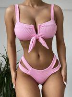 Women's Swimwear Ribbed Bikinis Sexy Women Push Up Bandage Swimsuits Thong Bikini Set Cut Out Beachwear Sport Wear