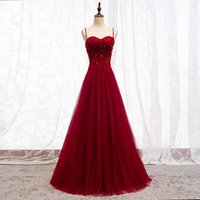 2021 Latest Style Evening Dress Spaghetti Beading Top Prom Gowns Navy Blue, Green, Red, Grape Dresses