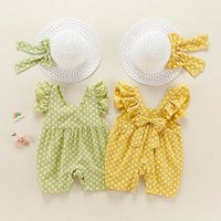 Girls Rompers Flower Baby Clothes Dress Newborn Jumpsuit Summer Cotton Dots One Piece Clothing Infant Bodysuits Bucket Straw Hat 2Pcs Sets B6158