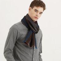 100% Wool Scarf New for Men scarves Winter Couple Neckerchief Stripe Warmer Pure Cashmere Muffler Pashm Retro skin friendly lady
