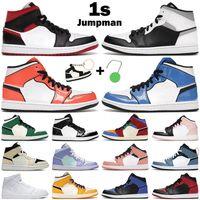 Jumpman 1S Hombres Mujeres Zapatillas de baloncesto Medio 1 Señal Azul Turf Naranja Blanco Sombra Fibra de carbono Hyper Royal Mens Trainer Sneakers