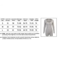 Casual Jumpsuit Ribbed Knitted Bodycon Playsuit Women Long Sleeve Bodysuit Summer Skinny Rompers Womens Body Suit