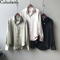 Colorfaithiath Женщины Весна Летние Сатин Блуза Рубашки Повседневная 4 Цвета Невазительный Модный Офис Леди Дикие вершины BL0726