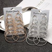 6 Pairs / 12Pairs Punk Hoop orecchini set per le donne ragazze steampunk clip auricolare oro argento colore grande cerchio orecchino moda gioielli gioielli regalo del partito