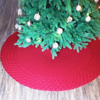 Solid Color Moire Tree Skirt 48 Inch Christmas Tree Bottom Apron Knit Lace-up Decorative Tree Skirt Christmas Utenciles