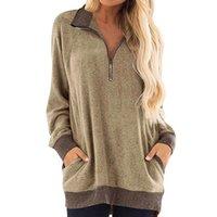 Women's Hoodies & Sweatshirts Spring Autumn Women Color Block Sweatshirts, Lapel Zipper V Neck Long Sleeve Tunics Shirt Tops With Pocket