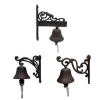 Objetos decorativos Figuras de hierro fundido Cena de cena Campana Colgando Metal Vintage Doorbell Bienvenido Casa de la granja fuera de las campanas de acento