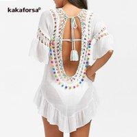 Kakaforsa 2021 Sexy Crochet Beach Cover UP на открытом воздухе Летнее Пляжное платье Хлопковое рюшачьего мяча Купальники