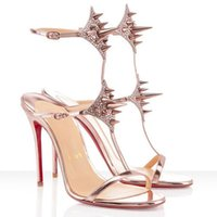Sandales Femmes Haute Sexy Sandal Sandal Sandal rouge Fond Red Highs Talons Lady Max Spike 100mm Cuir Strass Strass Gold Robe de mariage