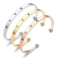 Bangle 2021 Fashion Rose Gold   Color Letters Love Adjustable Big small Open Charm Cuff Bracelets Bangles Women Jewelry