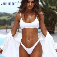 Juyabei Triángulo Sólido Bikini Sexy Blanco Blanco Blanco Traje de baño Tanga Push-Up Brasil Bijui Halter Beach Traje de baño Mujeres