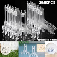 Ganci rails 25/50 PCS Plastic Easel Display Stand Supporti per ciotola Piatto Piatti Place Carte o altri articoli Home Casa Matrimonio Art Rack Decorati