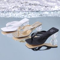 Slippers Sexy Ladies Shoes Slides Clear Transparent Thick High Heels Crystal Women Woman Mules Summer Casual