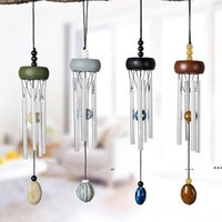 Wood Aluminum Tube Pendants Creative Mini Metal Wind Chime Home and Car Winds Chimes Pendant Decoration Craft Gifts sea ship RRB10925