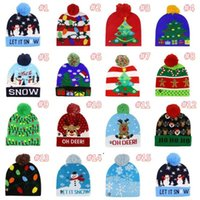15 Стиль Светодиодные Рождественские Вязаные Шляпы 23 * 21 см Дети Мама Зимние Теплые Шапочки Олень Санта-Клаус Крючком Кекс OWF9163