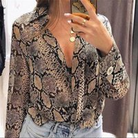 Snake Skin Button Long Sleeve Women Shirt And Tops Fashion Vintage