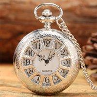 Antique Silver Pocket Watch Hollow Out Wheel Design Quartz Analog Display Clock for Men Women Necklace Pendant Chain