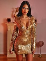 Casual jurken hoge kwaliteit sexy vrouwen v-hals lovertjes rayon bandage eenvoudige elegante homecoming avond feestjurk