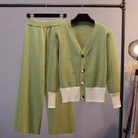니트 두 조각 세트 womenpant 봄 짧은 V 목 버튼 탑 패션 캐주얼 와이드 레그 긴 바지 Femme 우아한 세트