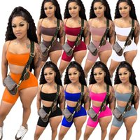 Summer Women Tracksuits Sexy Two Piece Pants Short Sets Suspenders Tops Shorts Yoga Outfits Jogger Suits Plus Size