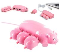 Cute Pink Pig USB Hubs 3 USB ports with 1 TF Card Reader Piggy HUB with one Micro SD Card adaptor for Computer,Laptop Hub port cable expansion adapter