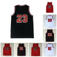 Männer Vintage 23 Basketballtrikots 33 91 rot weiße schwarz genähte Shorts
