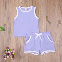 Clothing Sets WenaZao Infant Toddler Baby Girl Boy Casual Summer Outfit Set Fashion Color-block Sleeveless Vest Tops And Elastic Waist Short