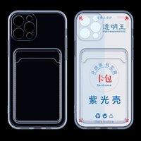 UV Direnci Anti-Oksidasyon Temizle Kart Yuvası Cep Telefonu Kılıfları iPhone 6 7 8 Artı X XR XS 11 Pro Max 12 Mini 13 SE2 Darbeye Şeffaf 1.5mm TPU Geri Kapakları-Yükseltme