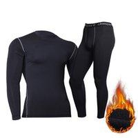 الملابس الداخلية الحرارية الشتوية للرجال دافئ طويل جونز اللياقة البدنية flecce يغطي الرجل الشيرتات الضيقة 210910