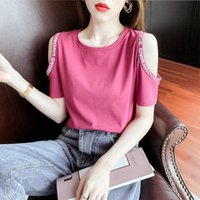 Women's T-Shirt Fashion Cotton T Shirt Women Summer 2021 Off Shoulder Short Sleeve Female Tshirts Plus Size Harajuku Tees Girls Korean Tops