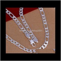 Necklaces & Pendants Jewelry Arrived Wholesale S925 Sterling Sier Color Figaro Chain 8Mm Necklace Chains For Mens Fashion Jewerly Promotion D