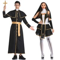Black Classic Priest Nun Costumes Adult Jesus Virgin Mary Pastor Cosplay Party Performace Bad Habit Halloween Clothes Outfits