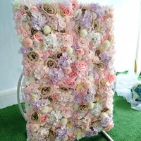 60x40cm Silk Rose Artificial Flowers DIY Flower Wall Panels Pink Romantic Wedding Party Event Backdrop Decor Baby Shower Decoration
