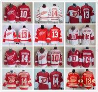 Vintage CCM Detroit Red Wings # 13 Pavel Datsyuk Jersey Hóquei Casa 10 Alex Delvecchio Inverno Clássico Branco 14 Brendan Shanahan Jerseys