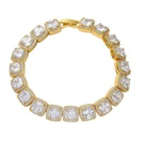 Hiphops Bling Jewelry 18K Gold Plated Iced Out 10mm Cubic Zircon CZ Chain Bracelet
