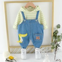 Clothing Sets Toddler Clothes Set Baby Kids Boys Girls Strips Tops Hoodies Cartoon Denim Romper Overalls Outfits Fashion Cute