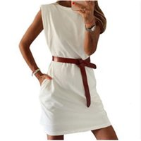 Casual Dresses 2021 Dress Casual Round Neck Pocket with Belt Skirt