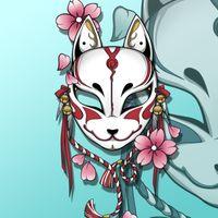 Tilki Maskesi Araba Sticker Karikatür Vücut Çizik Kapak Yaratıcı Japon Tarzı Kiraz Çiçeği Sevimli Dekorasyon