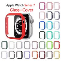 Glass Cover Case for Apple Watch Series 7 45mm 41mm 42 44 40 38mm Hard PC HD Tempered Bumper Screen Protector Cases iwatch7 Full Covers