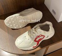 Bambini che corrono sneakers in pelle traspirante pelle scarpe da bambini designer di lusso antiscivolo casual camminare sport ragazzi ragazze papà sneaker