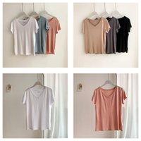Mozuleva 2021 Tops Sommer Casual V-Ausschnitt Solide Farbe Frauen T-Shirt Kurzarm Lose Weibliche Grundhilfe Damen T Shirts 100% Baumwolle