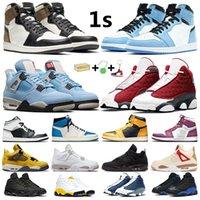 University Blue Men Basketskor 1 Hyper Royal 1s Dark Mocha Shadow 2.0 Pine Green Pollen 4s Vit Oreo Camo 13s Red Flint Black Cat Women Sneakers Sport Trainers